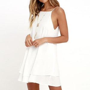 Summer Dress Sleeveless - Spaghetti Strap - Backless Halter - Knee-Length - Solid