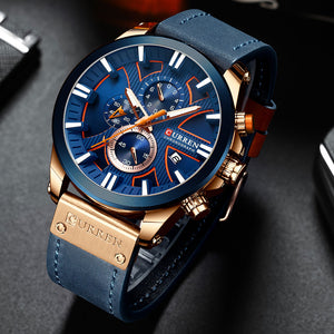 CURREN Chronograph Mens Sport Watch - Quartz - Leather - Fashion - Gift for Men - Low prices everyday!