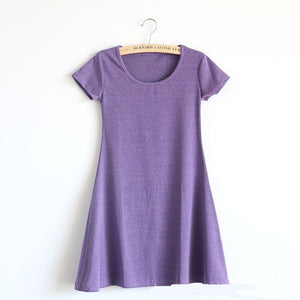Mini Dress - Short Sleeve - Slim Fit Dress - Available in Several Colors