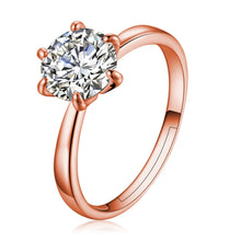 Load image into Gallery viewer, Classic Six Claw Gold Color Ring - Austria Crystal Jewelry - Engagement Ring