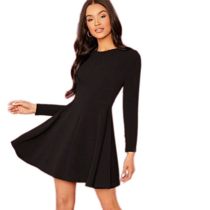 Black Solid Elegant Flared Dress High Waist Long Sleeve Short Dress
