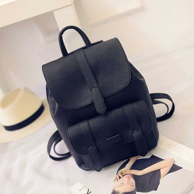 Women's Backpack Solid Vintage Girls School Bags Black/Gray/Blue PU Leather