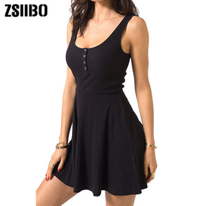 Black Summer Mini Tank Dress High Waist Slim Flare Casual