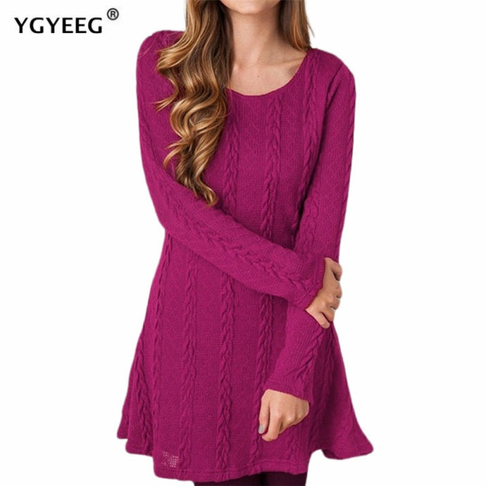 Long Sleeve Knitted Sweater Dress Elegant Casual Loose Mini Dress