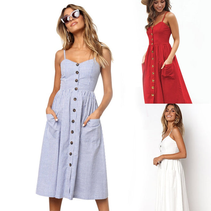 Summer Dress - Backless Midi Dress - Beach Casual Vintage - Button Sundress