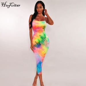 Hugcitar tie dye backless fashion - high waist slim elegant midi dress