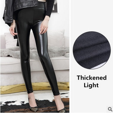 High Waist Leather Leggings Black Light/Matt Thin/Thick Fitness Push Up Slim