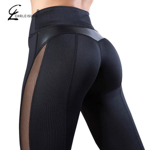CHRLEISURE - Medium High Waist Fitness Leggings - Workout - Fashion Mesh And PU Leather Patchwork Leggings