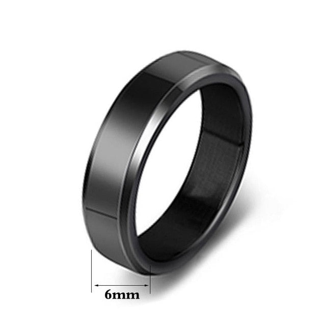 6 or 4 mm - Steel Black Ring - jewelry - Men/Women