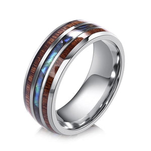 Mens Ring - Stainless Steel & Wood Grain - Fashion Men/Women - Jewelry - Gift