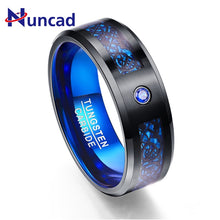 Load image into Gallery viewer, 8 mm Carbon Fiber Blue Zircon - Men's Ring - Tungsten Carbide - Jewelry