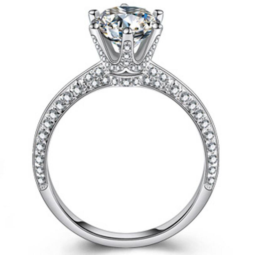 2.0 ct Synthetic Diamond - Wedding Engagement Ring - 925 Sterling Silver - Jewelry
