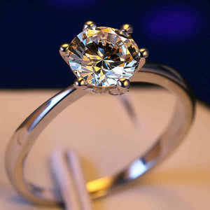 Classic Six Claw Gold Color Ring - Austria Crystal Jewelry - Engagement Ring