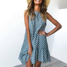 Load image into Gallery viewer, Wave Point Dress Ruffle Casual Slim O Neck Mini Polka Dot Dress