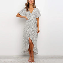Load image into Gallery viewer, Aachoae Vintage Printed Long Dress Split V Neck Ruffles Casual Warp