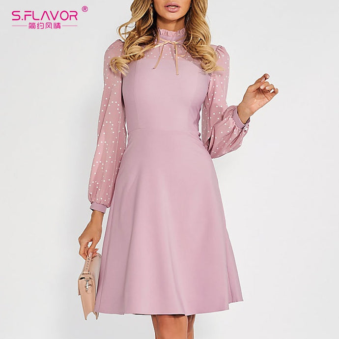 Vintage A-line Dress Autumn Long Sleeve Turtleneck Casual Dress