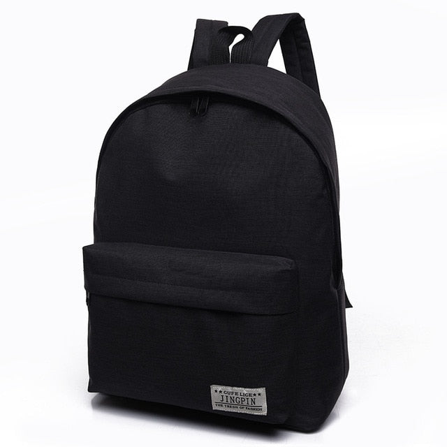 Canvas Black Backpack College Student School Backpack Bags for Teenagers Mochila Casual Travel Daypack