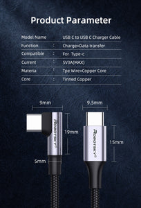 USB Type C to USB C Cable for Samsung or similar - Quick Charger 4.0 Fast Charging USB-C Type-C Cable