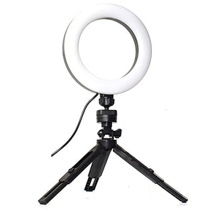 "6"" LED Round Light With Tripod Stand - Dimmable Photographic Lighting For Selfie Camera Makeup Live Video Studio"