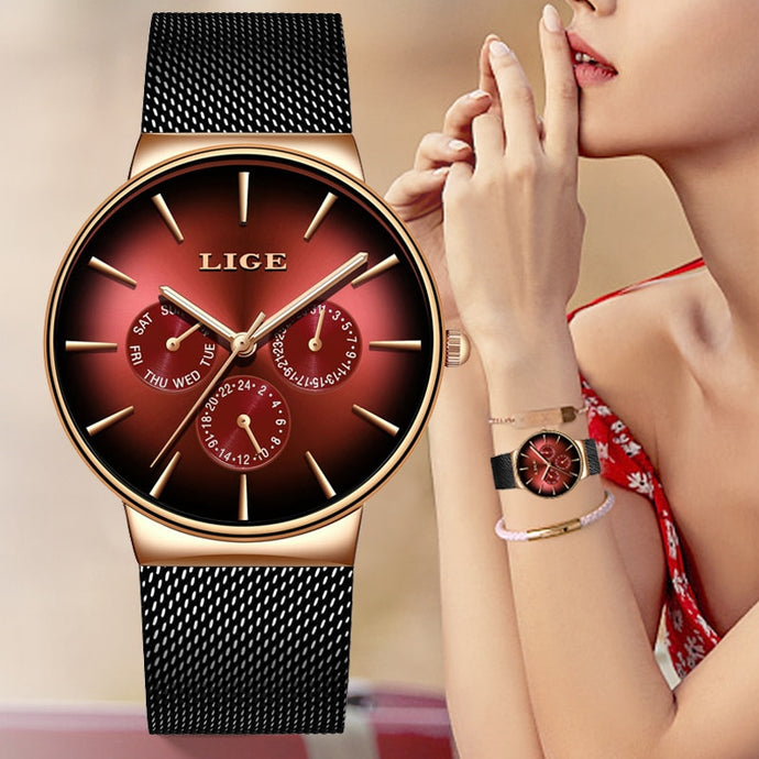 LIGE Fashion Ladies Watch - Ladies Mesh Band - Ultra-thin - Stainless Steel - Quartz - Casual - Low prices everyday!
