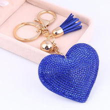 Load image into Gallery viewer, ZOSH Heart Keychain - Leather Tassel - Key Holder - Metal Crystal Charm - Pendant Gift