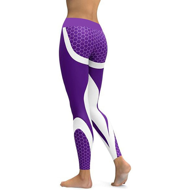 Mesh Pattern Print Leggings - fitness Sporting Workout - Elastic Slim Black White Pants