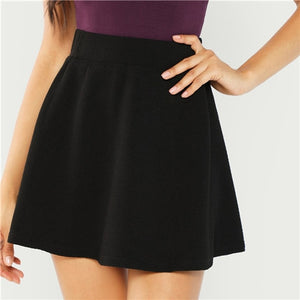 Black Elastic Waist Textured Skirt Preppy Plain Fit - Flare A Line High Waist - Short