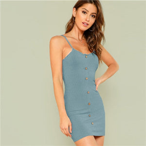Lettuce Edge Trim - Button Ribbed - Pink/Blue Cami - Elegant Short Mini Dress
