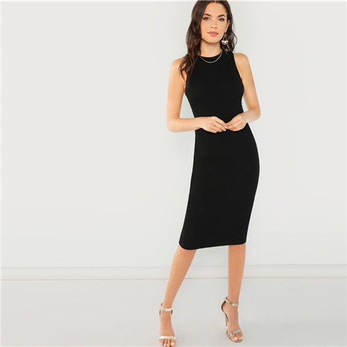 Black Solid Party Dress - Knee Length - Elegant Pencil - Short