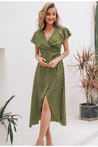 Green Elegant Long Dress - V-neck Wrap