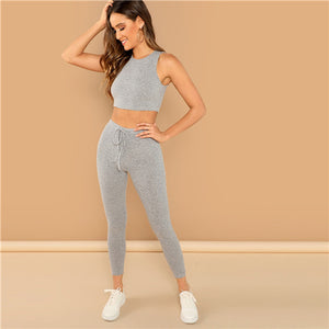 Grey Heathered Knit Crop Tank Top and Drawstring - Waist Leggings Set - Sporting Workout - Two Piece Set