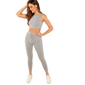 Leggings - Grey Heathered Knit Crop Tank Top and Drawstring - Waist Leggings Set - Sporting Workout - Two Piece Set