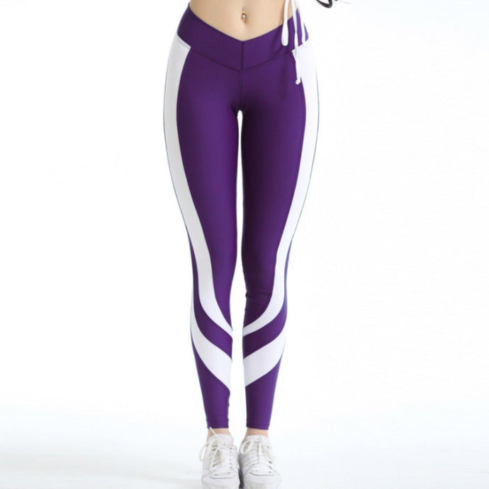 Casual Elastic Leggings - Purple - Sportswear - Workout
