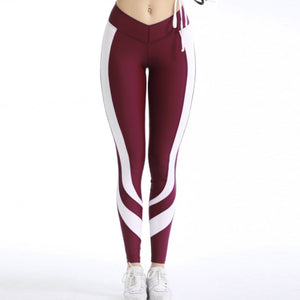 Casual Elastic Sporty Leggings - Red Burgundy - Sportswear - Workout