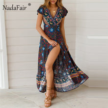 Load image into Gallery viewer, Classic Floral Print Dress Maxi Summer Dress Short Sleeve Sash Split Retro Style