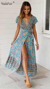 Classic Floral Print Dress Maxi Summer Dress Short Sleeve Sash Split Retro Style