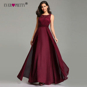 Elegant Dress Long A-line Sleeveless O-neck Chiffon Lace Evening Party Gowns Classic & Elegant