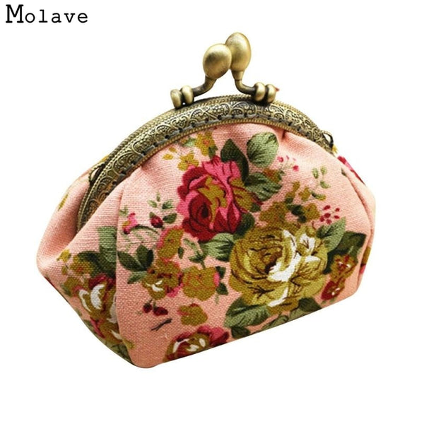 Naivety Coin Purse Women Lady Retro Vintage Flower Small Wallet Hasp Printing Floral Clutch Bag