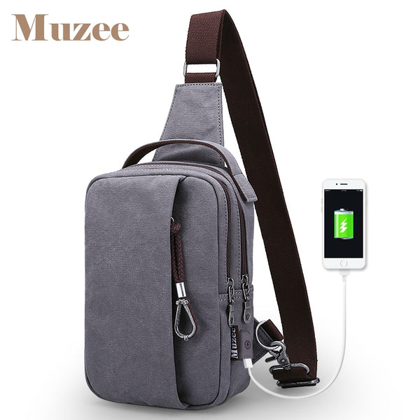 Muzee Versatile Canvas Sling Bags Chest Bag for Men