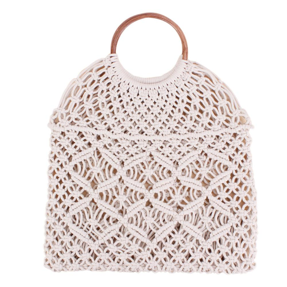 Rattan Cotton Rope Hollow Straw Woven Beach Bag Without Lining Storage Bag Fashion