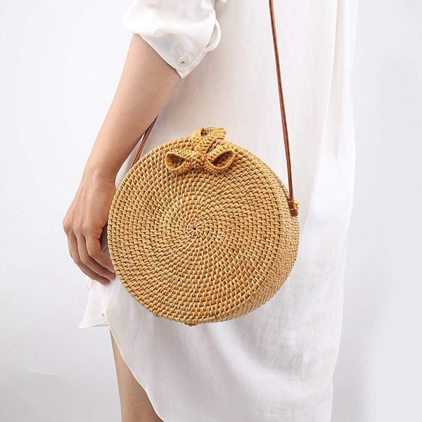 Bali Vintage Handmade Crossbody Leather Bag Round Beach Bag