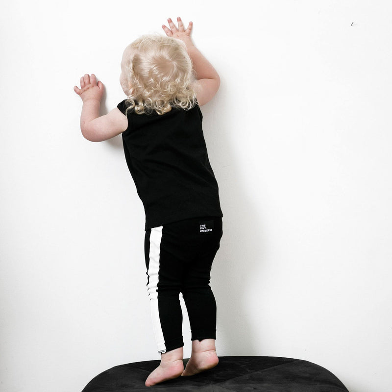 The Tiny Leggings - Black with white facing - The Tiny Universe Leggings