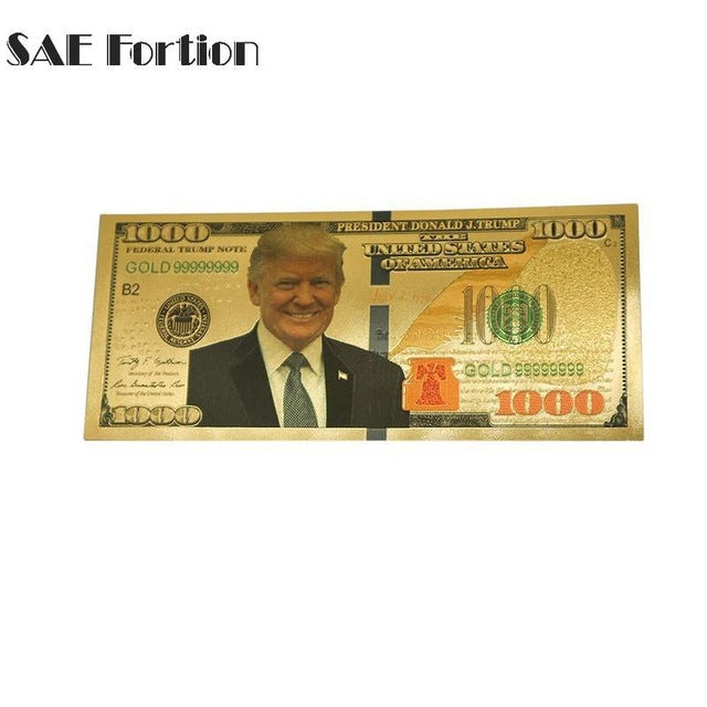 President Trump Gold Foil Bill Currency Collection Craft