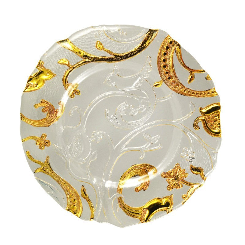 "10 Strawberry Street 13.25"" Giardano Clear & Gold Glass Charger Pack Of 6 GIARDN-340 - Comstrom"