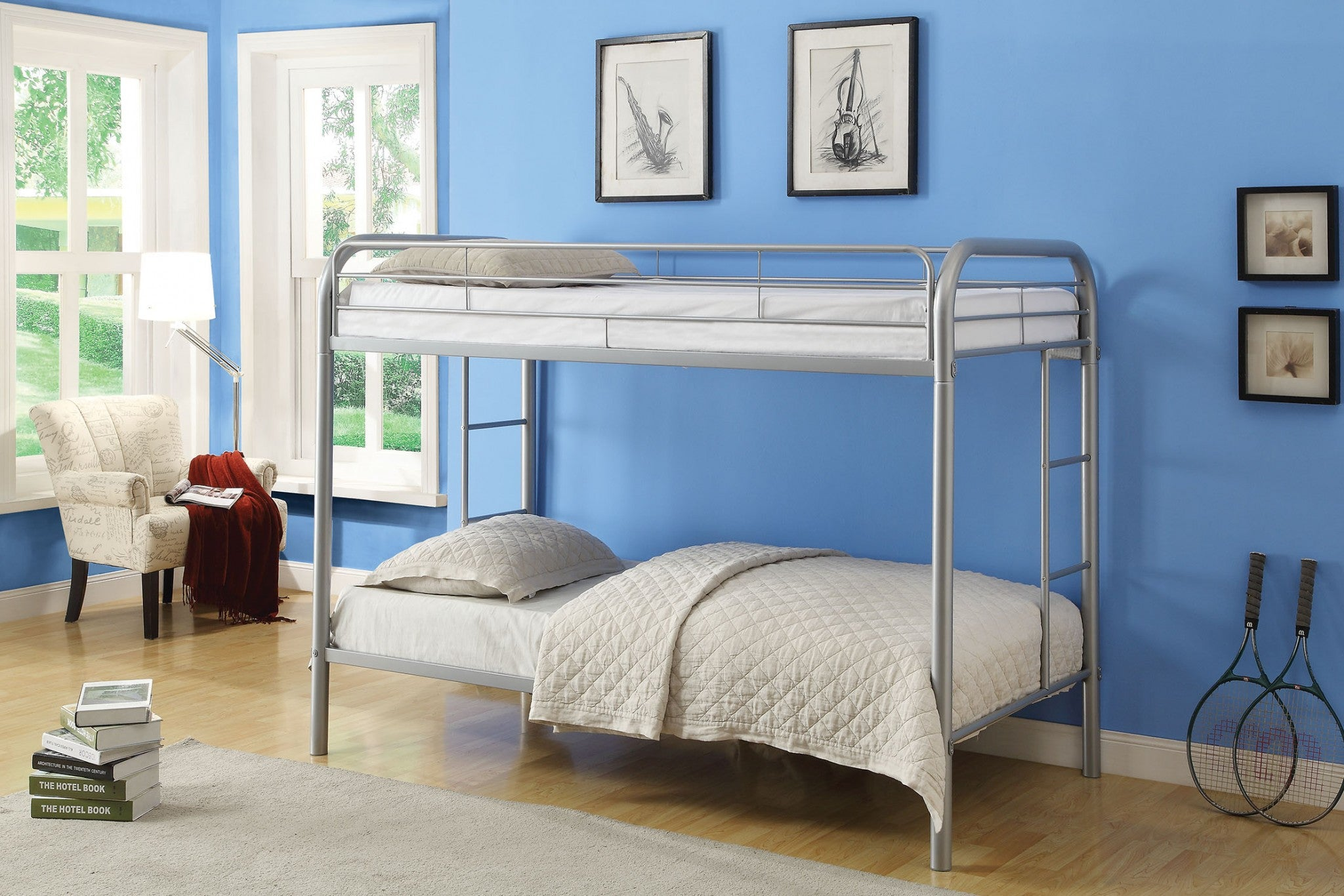 Picture of: Homeroots 78 X 41 X 60 Twin Over Twin Silver Metal Tube Bunk Bed 285201 Comstrom