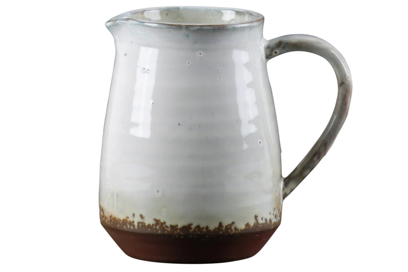 Ceramic Pitcher With Ribbed Glaze Body Design On Brown Banded Rim Base, Shiny Finish White 59113