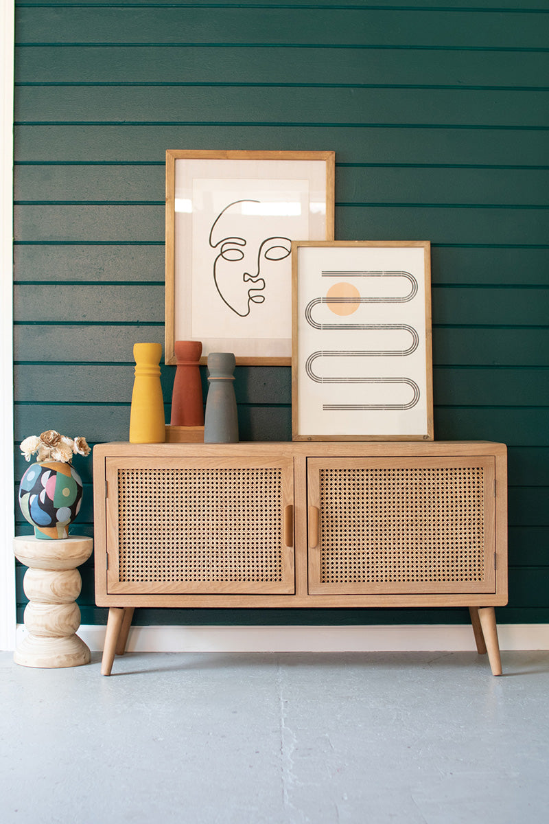 Wood Tv Cabinet With Woven Cane Doors CHH1299 By Kalalou