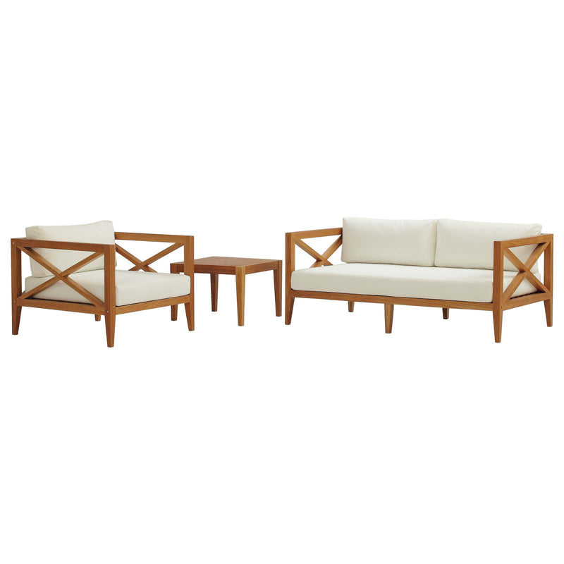 Northlake 3 Piece Outdoor Patio Premium Grade A Teak Wood Set EEI 3628 NAT WHI SET by Modway Furniture - Comstrom