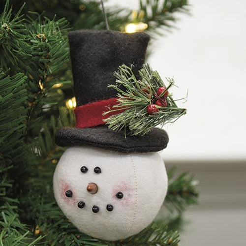 Top Hat Snowman Head Ornament GDQX96440 By CWI Gifts