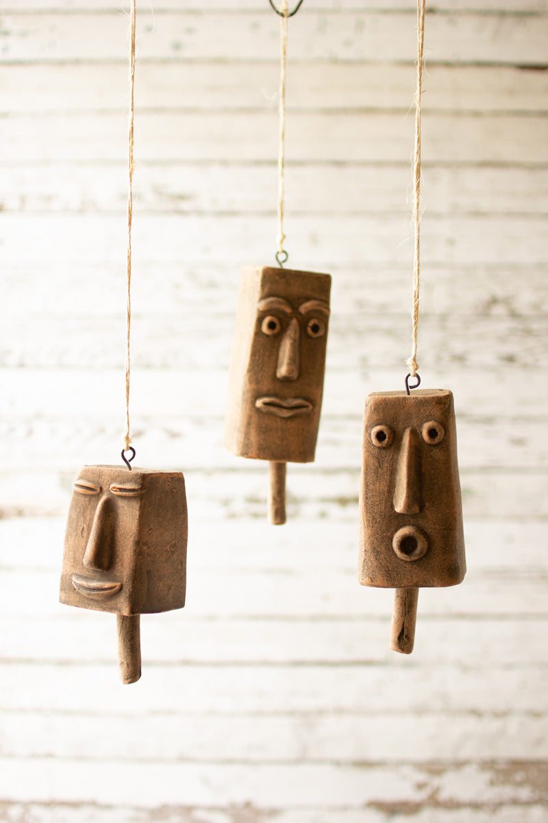 Set Of Three Clay Face Hanging Bells H3883 By Kalalou